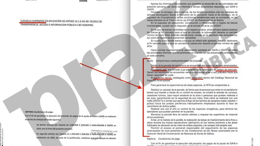 Izquierda, versión del convenio sobre el aeródromo de Rozas divulgada por la Xunta con la cláusula sexta oculta. Derecha, versión íntegra publicada por Defensa.
