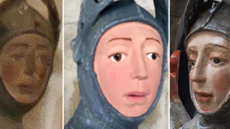 """La talla de San Jorge antes (imagen de Luis Sanz), durante el """"repintado"""" y después de la restauración"""