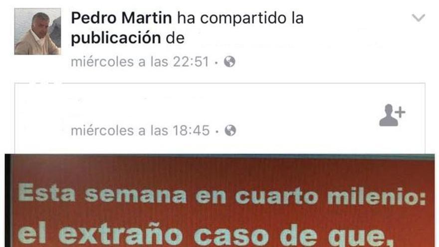 Captura del post que Pedro Martín publicó en su perfil de Facebook