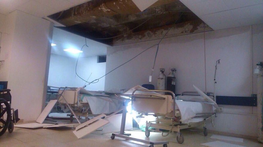 Caida del falso techo del hospital de Toledo