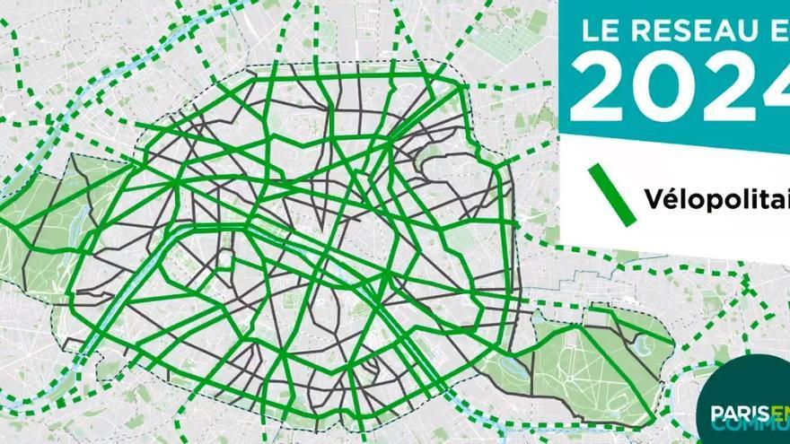 Propuesta de la alcadesa de París, Anne Hidalgo, para que la ciudad sea 100% accesible para bicicletas en 2024