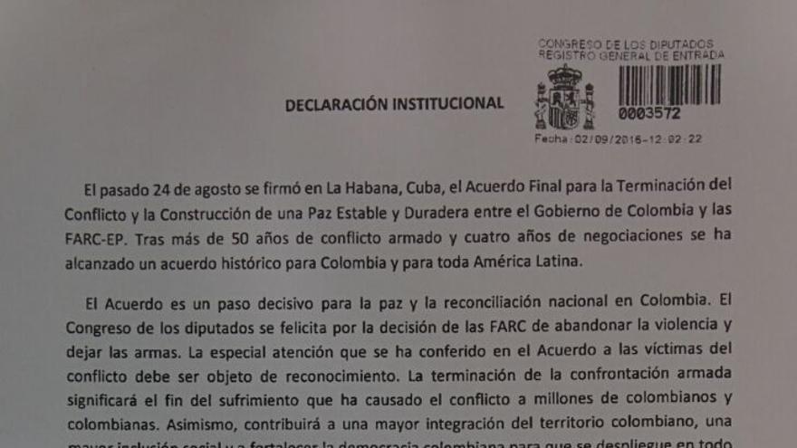 Declaración institucional de apoyo al proceso de paz en Colombia