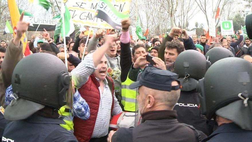Una de las manifestaciones celebradas hoy en Extremadura