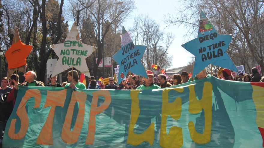 Representación de la marea verde en la manifestación. Madrid, 22 de febrero de 2015. \ Mercedes Domenech