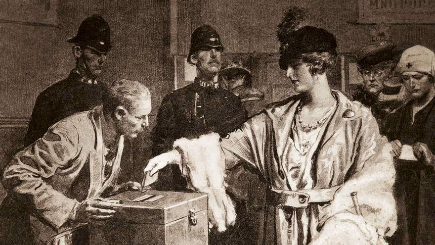 Mujer ejerciendo su derecho al voto