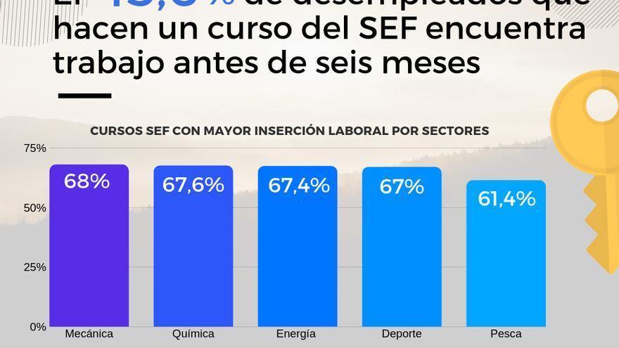 Gráfico que muestra los cursos SEF con mayor índice de inserción, por familias profesionales.