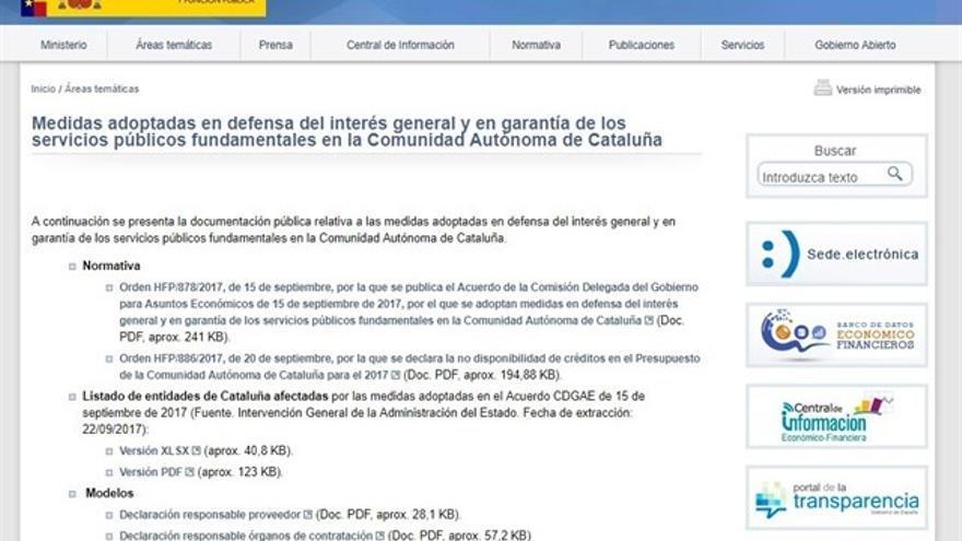 Captura de la página web publicada por Hacienda