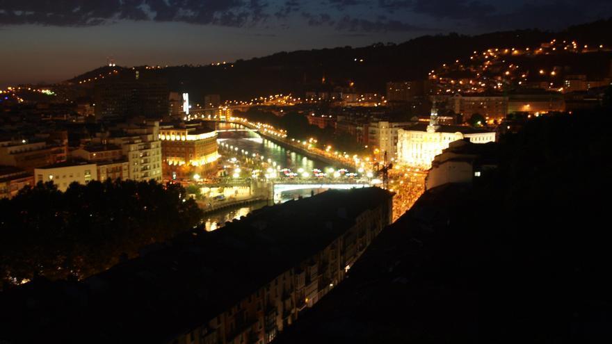 Vista de Bilbao desde el ascensor de Begoña en el parque Etxebarria, actualmente cerrado.