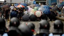 Barricada de manifestantes en Hong Kong