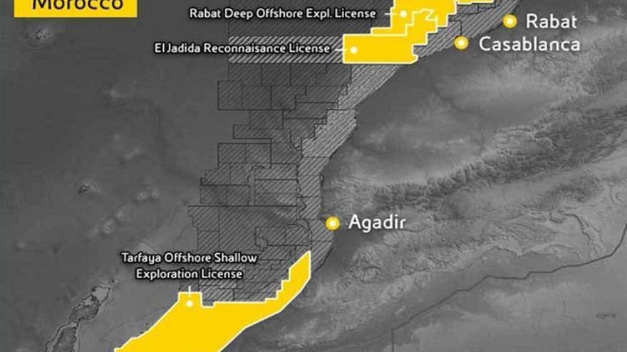 Mapa con la zona de los sondeos difundido por la petrolera.
