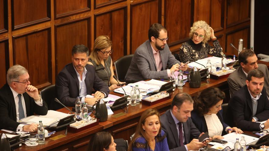 Bancada de Podemos en el Pleno del Cabildo de Gran Canaria.