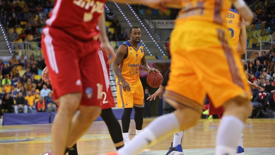 Bo McCalebb, en el partido ante el Hapoel en el Gran Canaria Arena. (ALEJANDRO RAMOS)