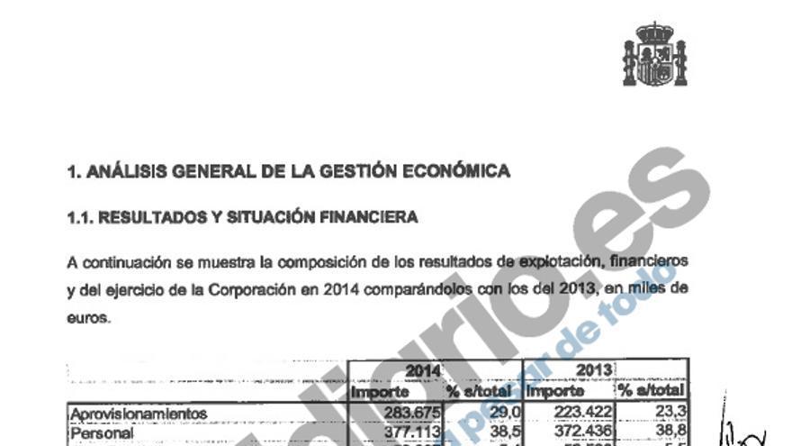 Una parte de la auditoría de 2014 RTVE, de más de 200 páginas