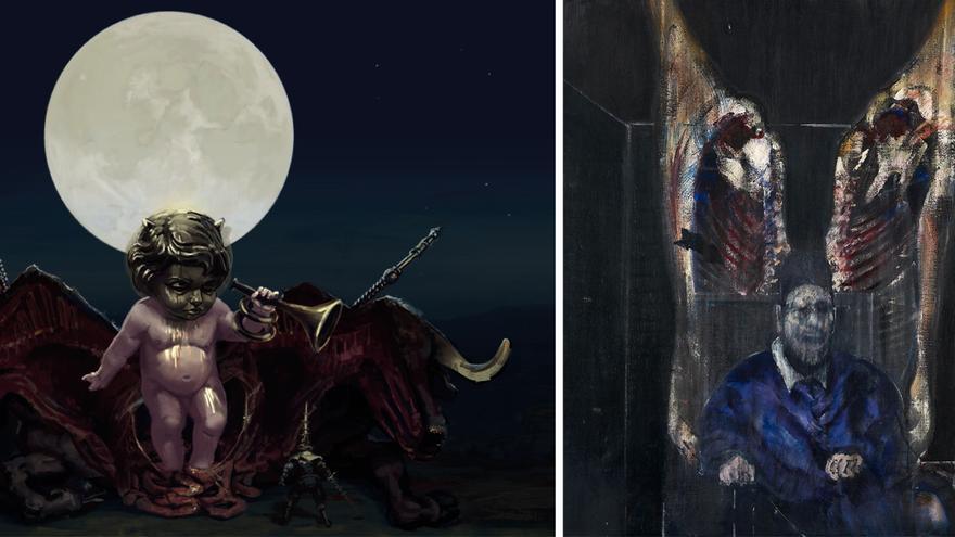 A la izquierda: Jocinero, enemigo de 'Blasphemous'. A la derecha: 'Figura con carne' (1954), de Francis Bacon