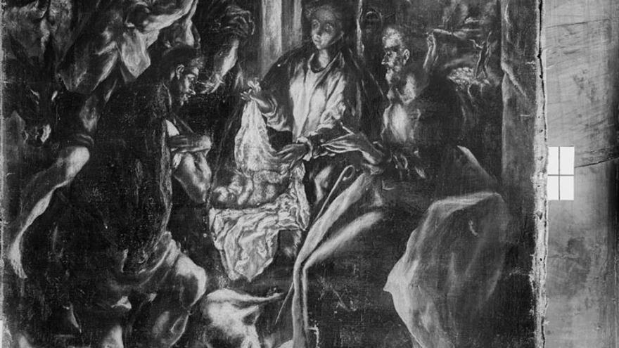Una de las pocas imágenes del lienzo de El Greco 'Adoración de los pastores' que estaba en Daimiel