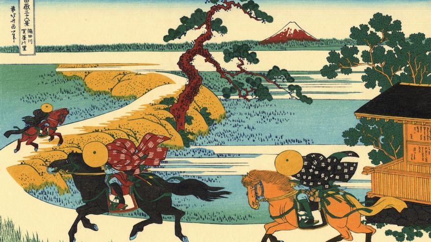 'Ciudad en el río Sumida', grabado nº 22 de 'Treinta y seis vistas sobre el monte Fuji'