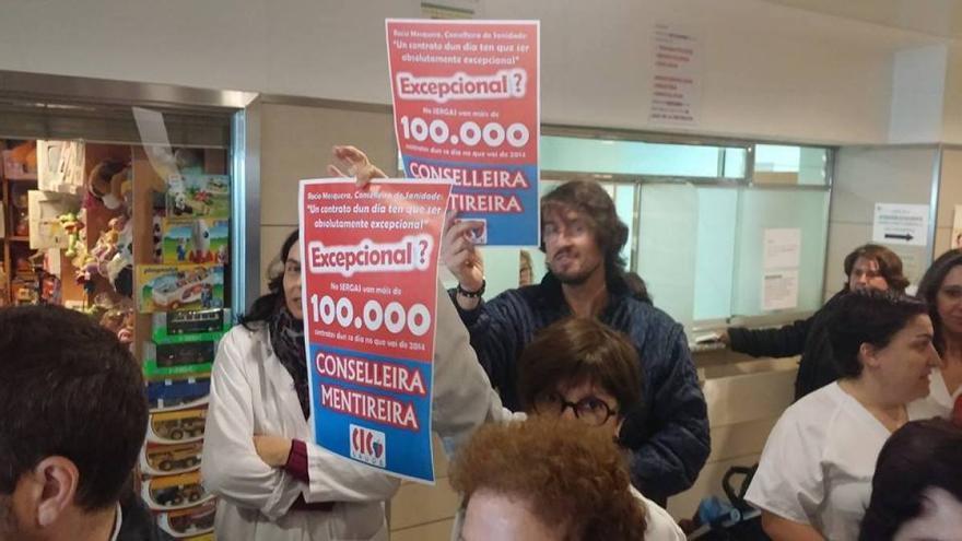 Cientos de personas participaron en las concentraciones convocadas pola CIG contra la política de contratación del SERGAS
