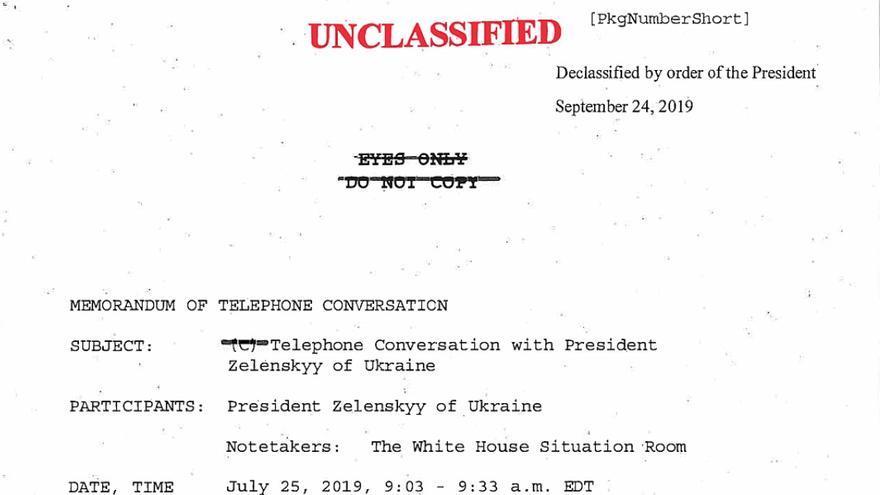 Imagen del documento desclasificado sobre la transcripción de la llamada telefónica entre Donald Trump y Volodímir Zelenski.
