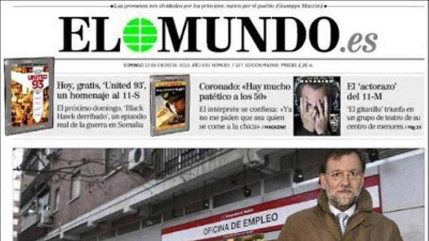 Portada de El Mundo con Rajoy ante una cola del paro.