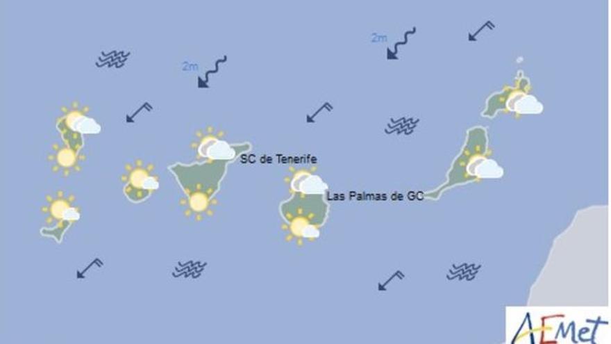 Mapa con la previsión meteorológica para este sábado, 12 de agosto de 2017