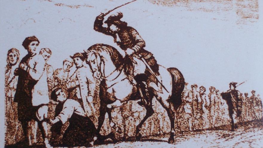 'Cadena de presos', un grabado del siglo XVIII.