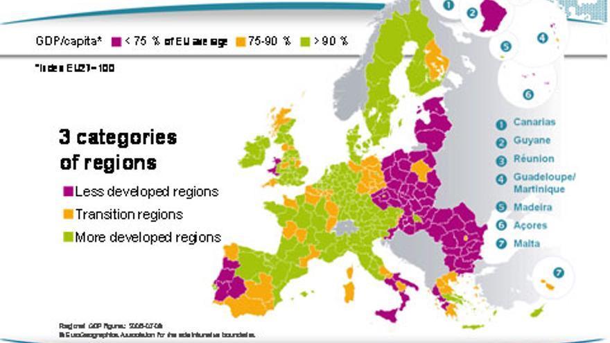 Mapa de la UE según las necesidades de apoyo regional en el periodo 2014-2020