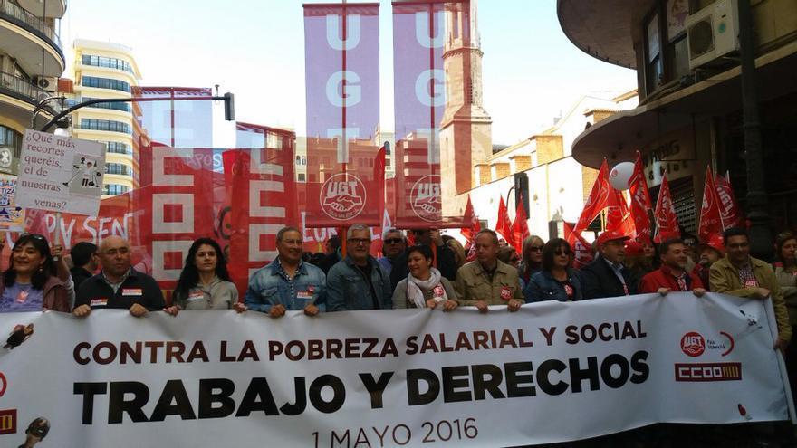 La cabecera de la manifestación del 1 de Mayo en Valencia
