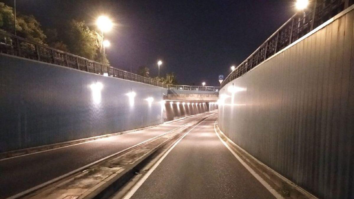 Nueva iluminación en el túnel de Ibn Zaydun en Córdoba.