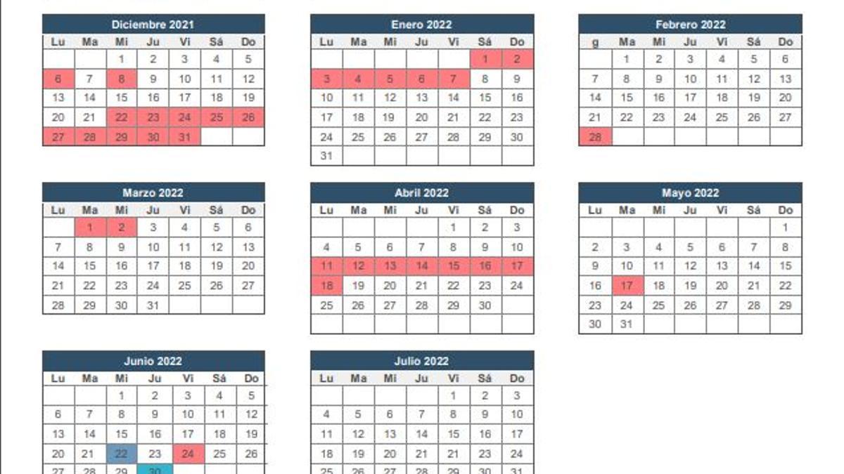 Calendario escolar para el curso 2021/22 en Galicia