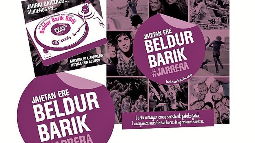 Cartel de la campaña 'Jaietan ere, beldur barik #jarrera'.