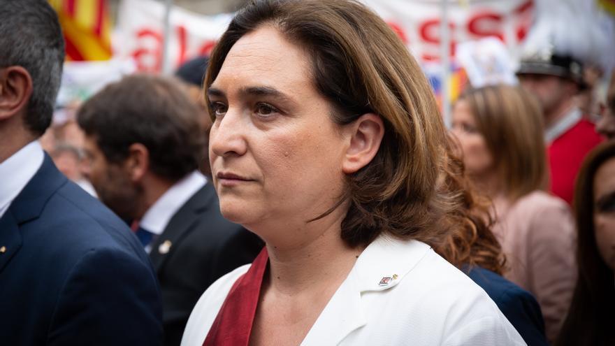 Ada Colau en el recibimiento del president de la Generalitat a los nuevos concejales del Ayuntamiento de Barcelona.