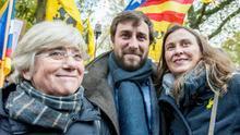 Los exconsellers Clara Ponsati, Antoni Comin y Meritxell Serret en la manifestación organizada por la ANC en Bruselas.