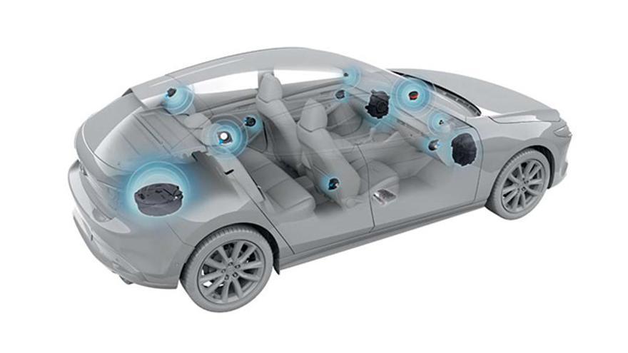 Distribución del sistema de altavoces en el nuevo Mazda3.