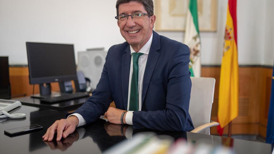 El vicepresidente de la Junta y consejero de Turismo, Regeneración, Justicia y Administración Local, Juan Marín durante la entrevista  a Europa Press