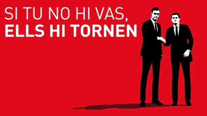 """Eslogan de ERC: """"Si tú no vas, ellos vuelven"""""""