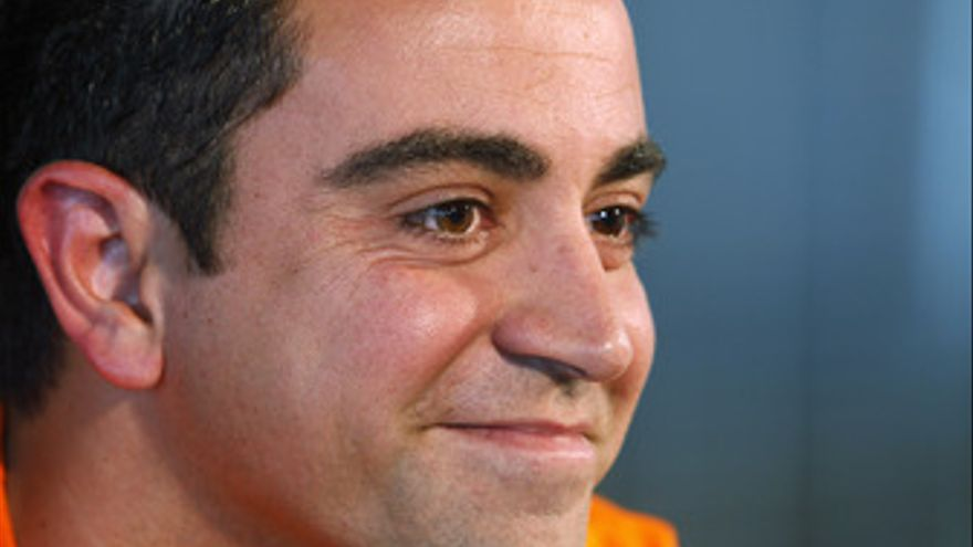 Xavi Hernández en rueda de prensa