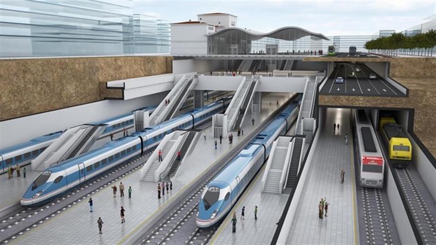Simulación infográfica de la llegada del AVE a la estación de Vitoria.