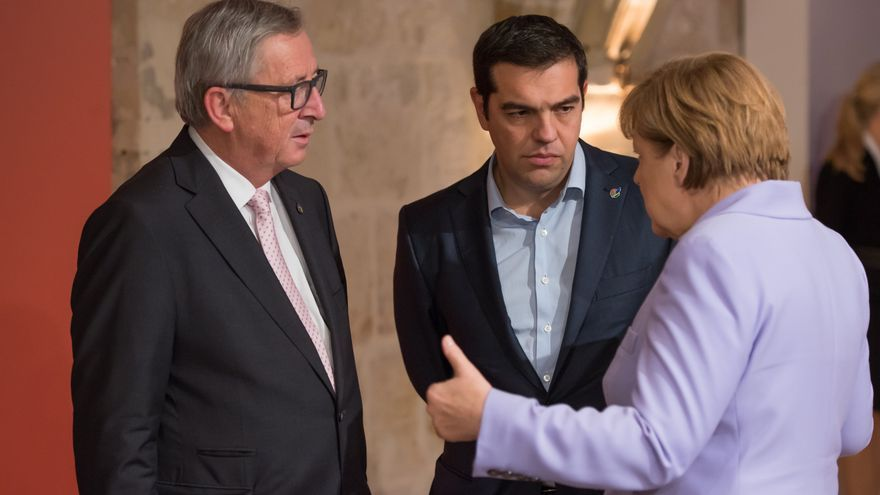 Nov. 12, 2015 - Valletta, Malta - European Commission President Jean-Claude Juncker (L) Greek Prime Minister Alexis Tsipras (C) and German Chancellor Angela Merkel (R) At the two-day Malta summit,which will build on existing cooperation processes between Europe and Africa.The summit is expected to address the root causes of migration by working to help create peace, stability and economic development in the countries of origin and transit.