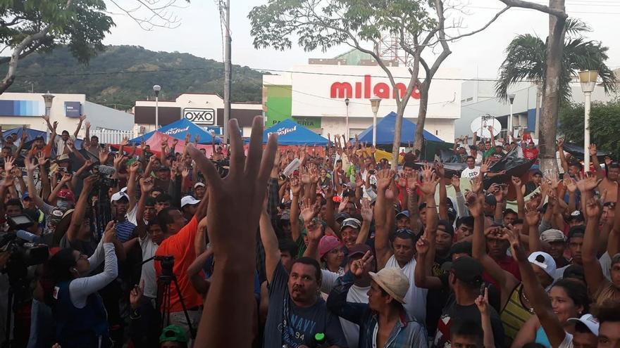 Asamblea de desplazados, foto: Georgina Garibo.