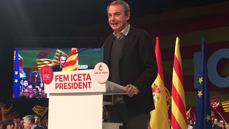 José Luis Rodriguez Zapatero durante el mitin de este domingo del candidato socialista Miquel Iceta.