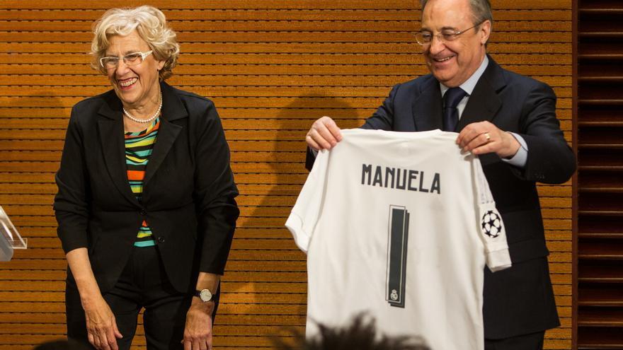 Manuela Carmena y Florentino Pérez, tras la victoria del Real Madrid en la Champions.