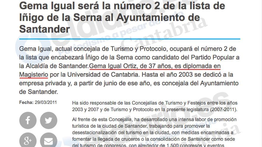 """Según figura en la web del PP, Gema Igual es """"diplomada en Magisterio""""."""