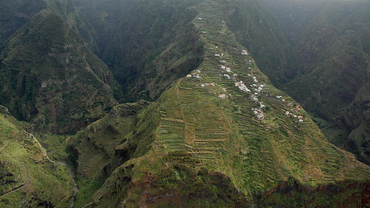 Imagen aérea de El Tablado, en Garafía.