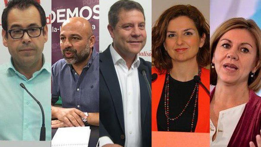 De izquierda a derecha: Juan Ramón Crespo (IU), José García Molina (Podemos), Emiliano García-Page (PSOE), Orlena de Miguel (Ciudadanos) y Dolores de Cospedal (PP)