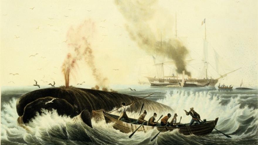 'Pesche de la Baleine', un lienzo de Amboise Louis Garneray sobre la pesca de ballenas y, en este caso, una apropiada metáfora (Foto: WIkimedia)