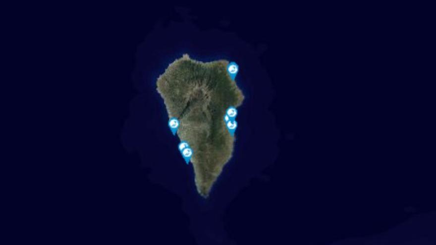 Mapa de las zonas de baño analizadas.