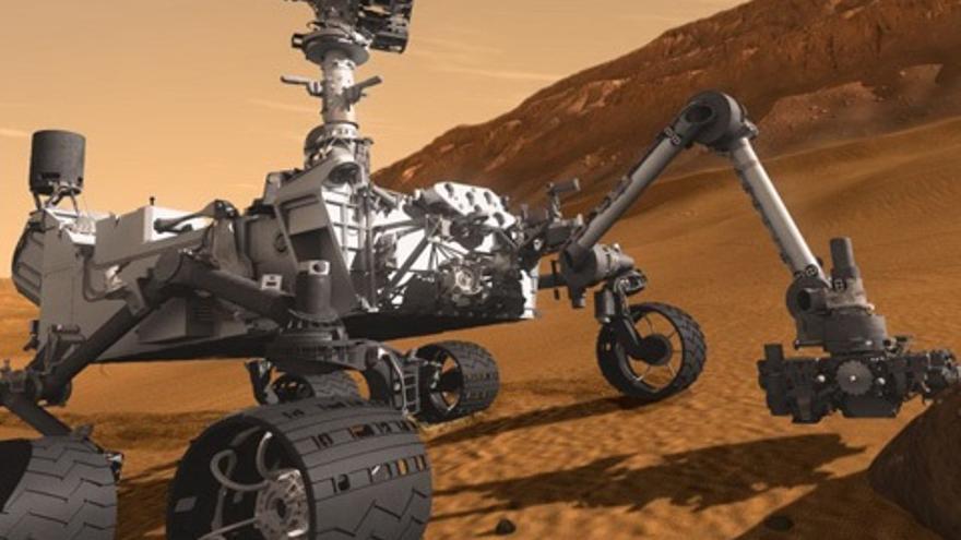 Un robot en plena exploración.