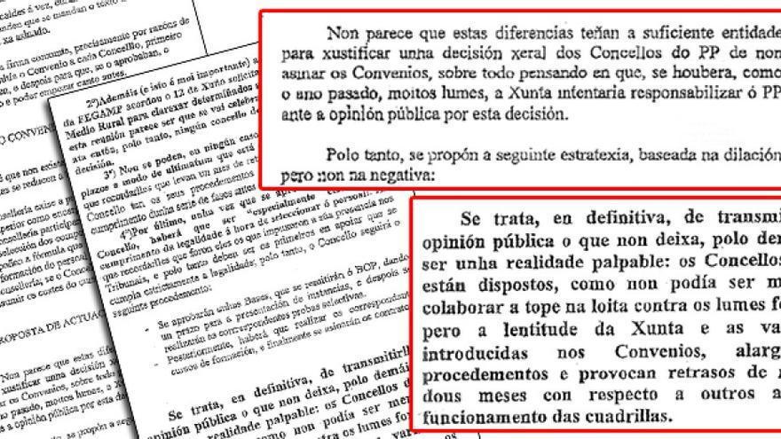 Fragmentos de la instrucción remitida por el PP a sus alcaldes de A Coruña en 2006