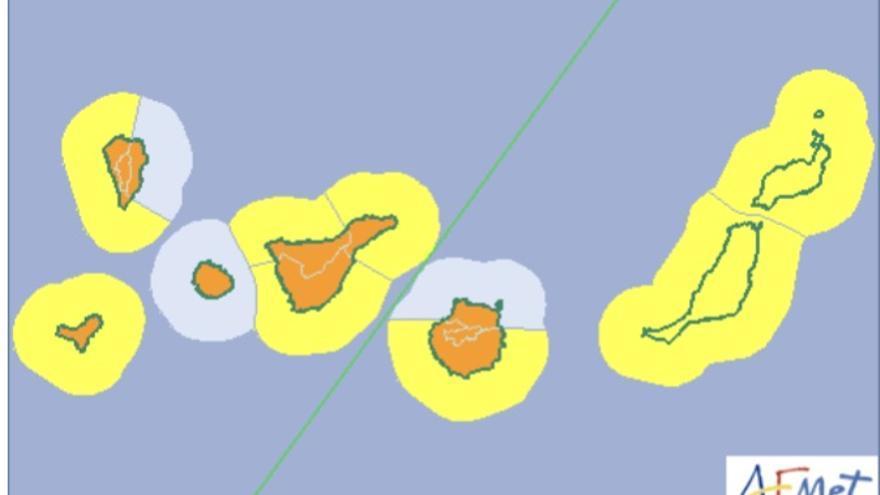 Mapa de la Aemet de los avisos de riesgo por lluvias, viento y fenómenos costeros para este domingo, 25 de febrero de 2018.
