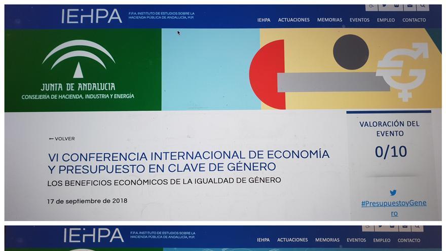 Pantallazo de la web oficial de la Consejería de Hacienda anunciando el congreso, con el anterior Gobierno del PSOE, y con el actual Gobierno de PP y Ciudadanos.